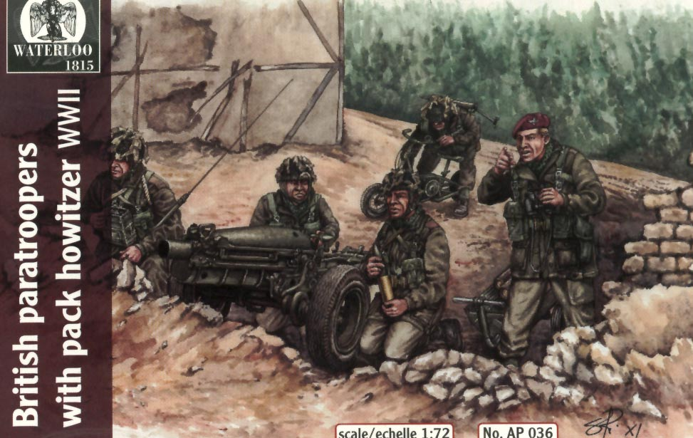 BRITISH PARATROOPERS WITH PACK HOWITZER WWII
